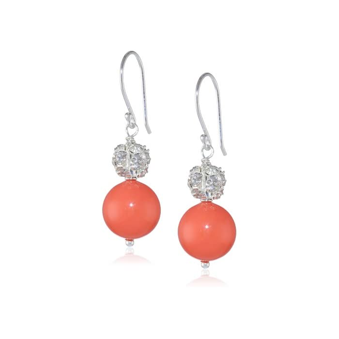 Dyed Pink Shell and  Rhinestone on Sterling Silver Drop Earrings