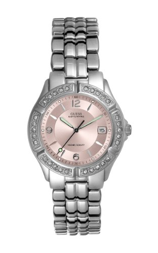 GUESS Women's G75791M Dazzling Sporty Mid-Size Silver-Tone Watch