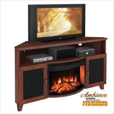Shaker Style Curved Electric Fireplace Corner Console