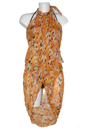 Tamari Orange Confetti Print Sarong Beach Cover Up Wrap Dress One Size