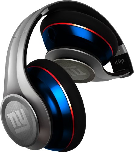 Ihip Nfh33Nyg Nfl Elite Style Headphone With In-Line Microphone - New York Giants Silver/Blue