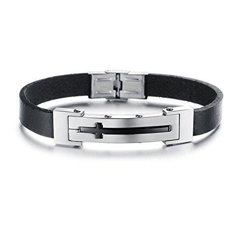 Bemaystar Men'S Vintage Titanium Stainless Steel Bracelets Link Chain Wristband Cross Pattern