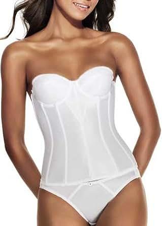 Dominique Satin Torsolette Bridal Bustier Style 8950, White, 44D at