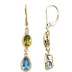 Genuine IceCarats Designer Jewelry Gift 14K Yellow Gold Genuine Peridot, Swiss Blue Topaz And Diamond Earrings. Pair .04 Ct Tw Genuine Peridot, Swiss Blue Topaz And Diamond Earrings In 14K Yellow Gold
