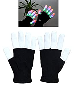 W-plus Flashing Finger Lighting Gloves LED Colorful Rave Gloves 7 Colors Light Show, Light-up Toys, Christmas Gift