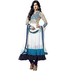 Shree Ashapura Creation Women Georgette Designed Dress Material ( White )