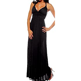 Maxi Boho Black Summer Halter Celeb Beach Party Dress