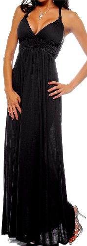 Maxi Boho Black Summer Halter Celeb Beach Party Dress, Small