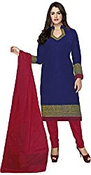 SP Marketplex Women's Cotton Unstitched Dress Materials (Spmsg301, Blue And Magenta)