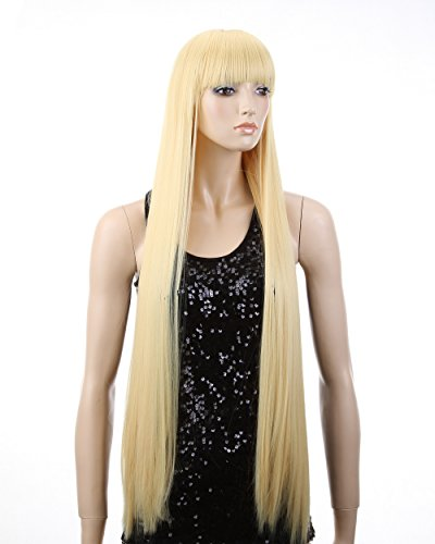 "Cool2day 39""Anime Costume Long Straight Blond Hair Cosplay Party Wig(Model: Jf010920)"