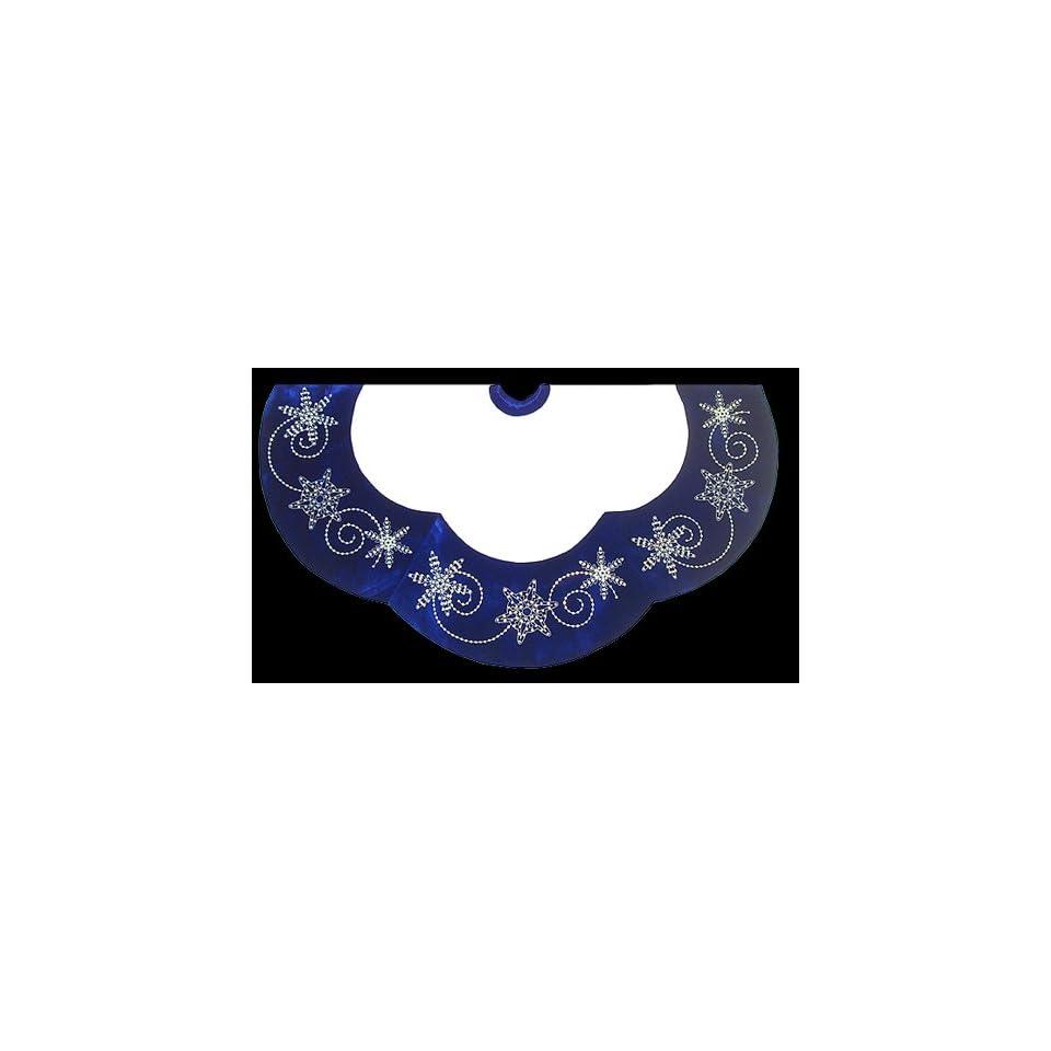 48 Blue & White Velvet Christmas Tree Skirt With