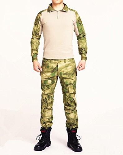 Esercito Commando Camouflage rana passt Camouflage pantaloni Tactical morbida respirare resistente all' usura giacca + pantalone Jungle Camouflage Uniform, green ruins camo, L