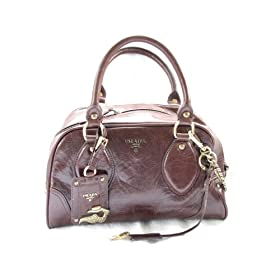100% AUTHENTIC MADE IN ITALY PRADA GENUINE BROWN LEATHER PRE-OWNED HANDBAG MSRP: $2380.00