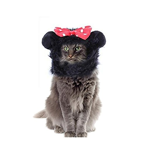 Vvhome Pet Costume Lion Wigs Mane with Ears Hair Christmas Costumes Festival Party Clothes Fancy Dress up for Dog Cat (Black)