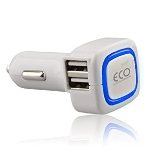 ECO Sound Engineering Quad USB Vehicle Charger 4.0A - Retail Packaging - White