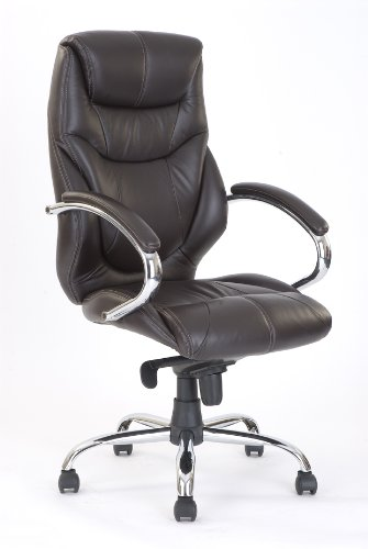 Eliza Tinsley 617KTAG/LBW High Back Leather Faced Executive Armchair with Chrome Base