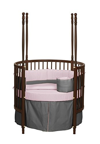 Baby Doll Solid Reversible Round Crib Bedding Set, Grey/Pink