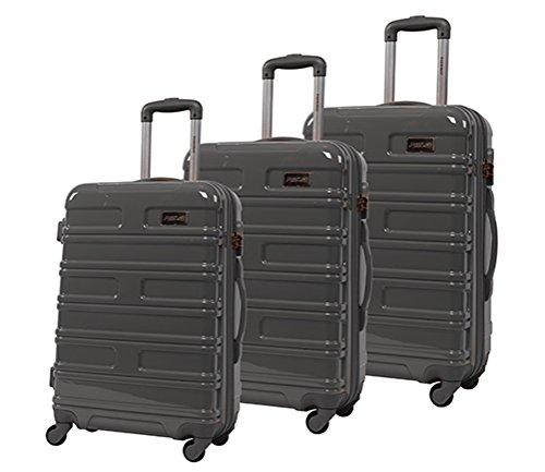 lot de 3 valises-chariots 4 roues- système trolley Gris