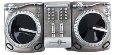 Gunmetal Finish Dual Turntables Belt Buckle DJ Deejay (Brand New)
