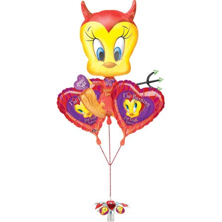 Tweety Devil Valentine Balloon Bunch (1 per package) - 1