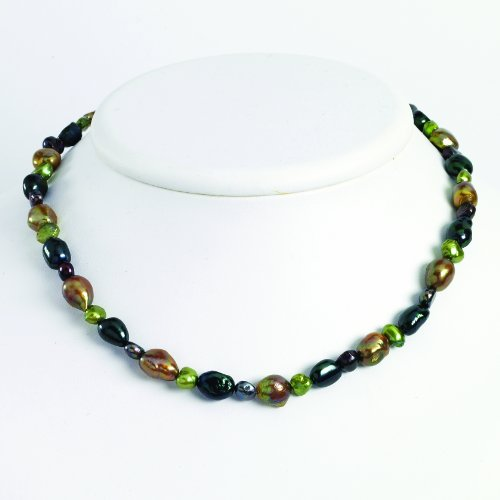 Sterling Silver Dk Green/Dk Purple/Olivine Fw Cultured Pearl Necklace