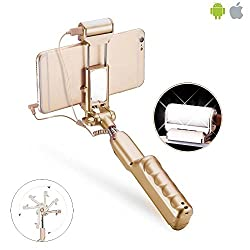 Selfie Stick, DMG Luxury Selfie Stick with 360 Degree Led Fill Flashlight and Mirror Build-in Shutter for iPhone and Samsung,HTC,LG,Sony All Android Cellphones (Gold)