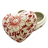 White Ceramic Heart with Red Vine Design Trinket Keepsake Box
