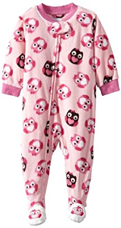 Vitamins Baby Baby-Girls Infant Owl Print Footed Pajama, Pink, 12 Months