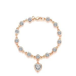 O4U Heart Shape Genuine Austrian Crystals Gold Plated Bracelet