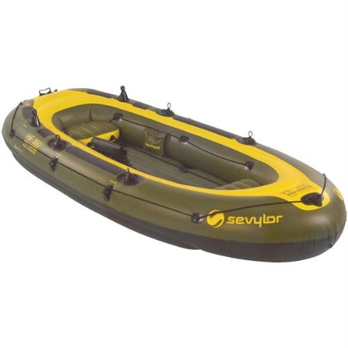 Sevylor fish hunter inflatable 4 person boat ebay for 4 person fishing boat