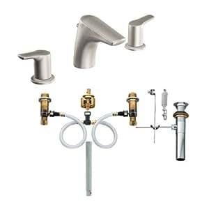 Moen T6820BN-9000 Method Two-Handle Low Arc Bathroom Faucet with Valve, Brushed Nickel