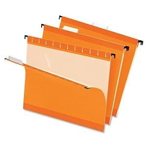 Pendaflex  Hanging Folder, Orange, 1/5 Tab, Letter, 25 Box,4152 1/5 ORA