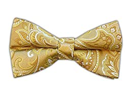 100% Woven Silk Gold Paisley Self-Tie Bow Tie