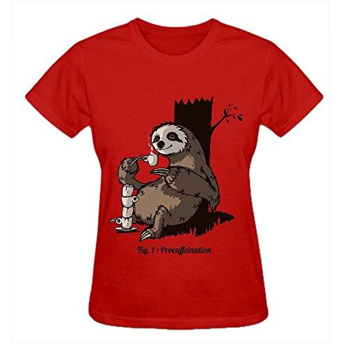 Procaffeination Uq9 T Shirt Design Women Crew Neck Red