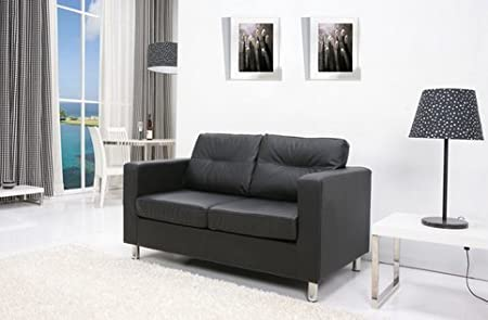 Detroit Black Contemporary Loveseat Sofa Modern Settee with Chrome Legs for Stylish Living
