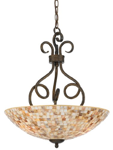 B0013EP1YM Quoizel MY2816ML Monterey Mosaic 3 Light Pendant, Malaga and Pen Shell Mosaic Glass Shade