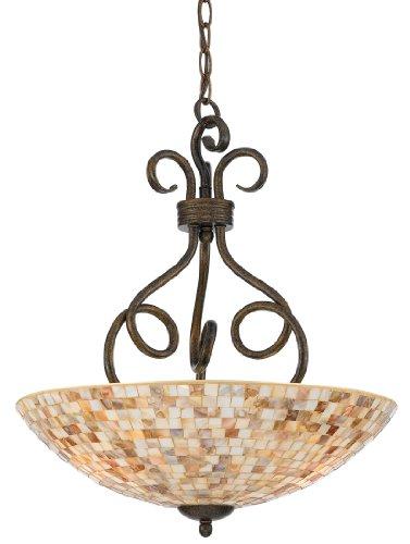 Quoizel MY2816ML Monterey Mosaic 3 Light Pendant, Malaga and Pen Shell Mosaic Glass Shade