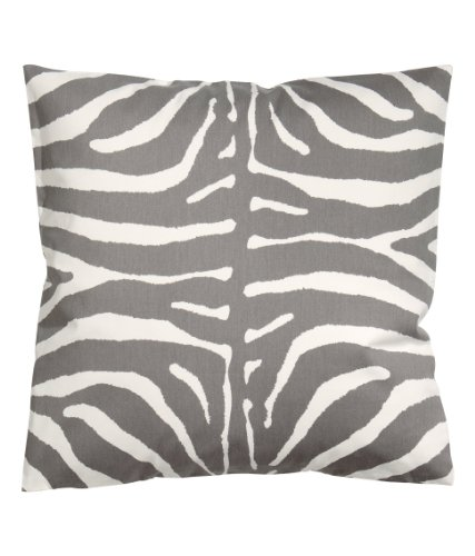 """Zebra Print 100% Cotton Throw Pillow Cover Animal Print Cushion Cover 20 X 20"""" Gray And White front-968908"""