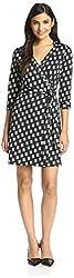JB by Julie Brown Women's Printed Milo Wrap Dress, Black Blondie, L