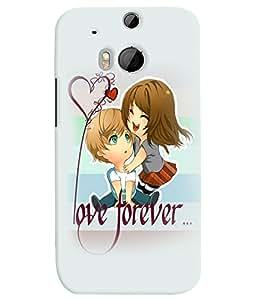 PrintVisa Cute Cartoon Romantic Lovers 3D Hard Polycarbonate Designer Back Case Cover for HTC One M8