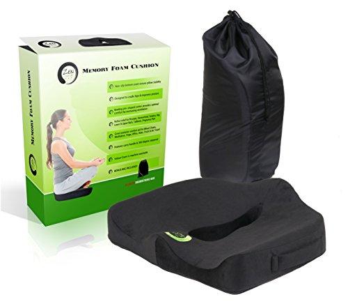 Zen Comfort - Memory Foam Seat Cushion - Wheelchair, Car, Truck, Office Chair, Meditation & Yoga, STORAGE BONUS BAG INCLUDED!