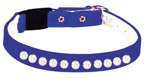 Pet Supply Imports - Blue Velveteen Jeweled Break Away Cat Collars Siz 10