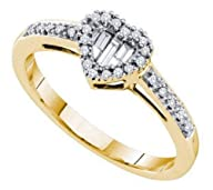0.15 cttw 14k Yellow Gold Diamond Round and Baguette Heart Promise Engagement Ring (Sizes 4-10)
