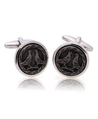 Birds stamp Black & Silver Cufflinks