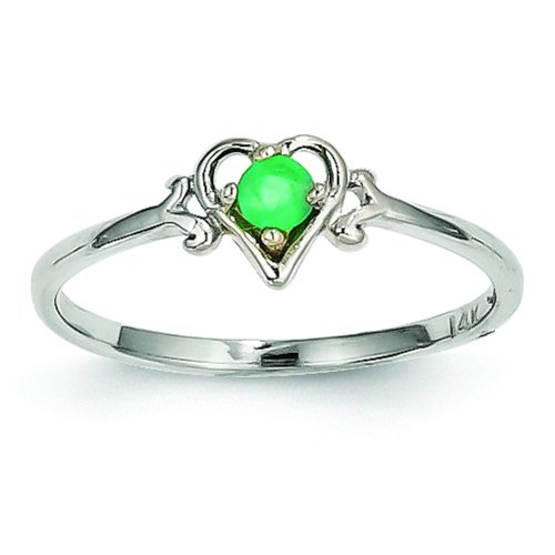 14K White Gold Emerald Heart Ring