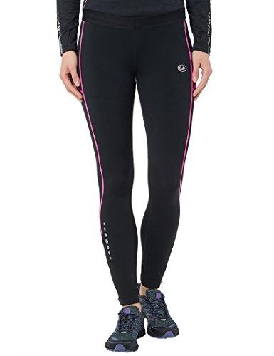 Ultrasport 380100000318 Pantaloni Jogging, Donna, Nero/Neon Rosa, XL