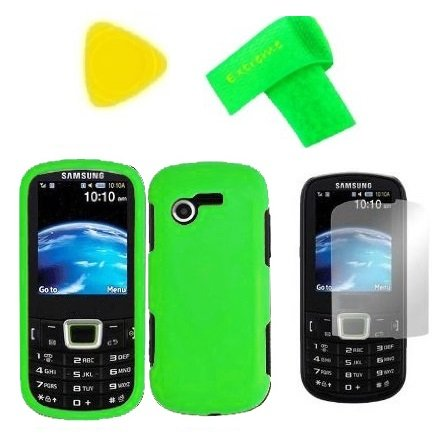 Phone Cover Case Cell Phone Accessory + Lcd Screen Protector + Extreme Band + Yellow Pry Tool For Samsung S425G Sgh-S425G (Neon Green)