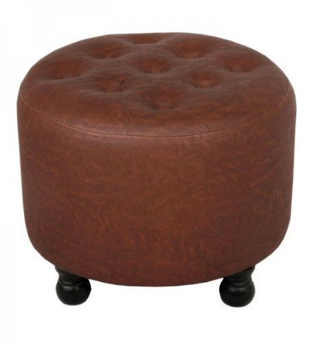 20-Inch Round Faux Leather Ottoman (Brown) (16