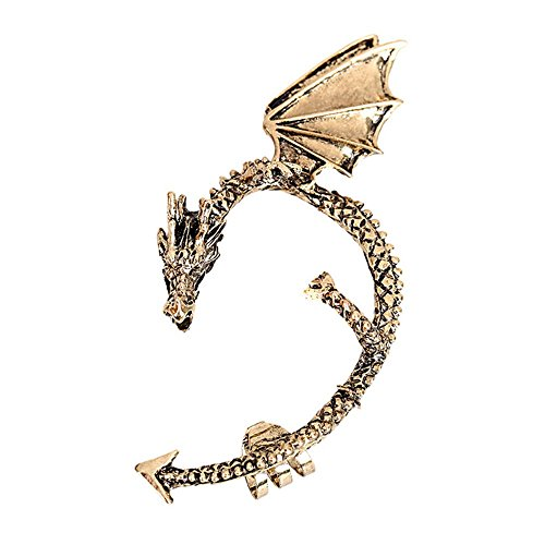 Winter's Secret Retro Fashion Personality Goth Punk Dragon-shaped Clip Single Left Earring Bronze (Tshirt Tabletop Display compare prices)