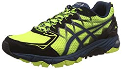 Asics Mens Gel-Fujitrabuco 4 Flash Yellow, Black and Mediterranean Running Shoes - 7 UK/India (41.5 EU) (8 US)